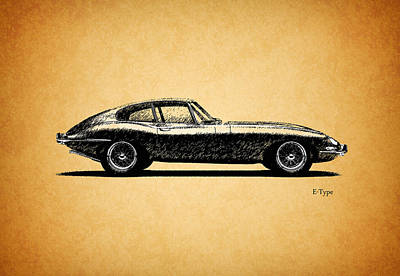 E-type Jaguar Art Print by Mark Rogan