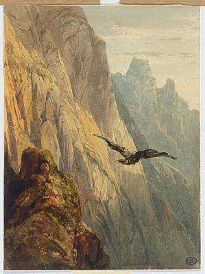 Eagle Cliff Painting - Eagle Circling Before A Cliff Face by Alexandre Calame