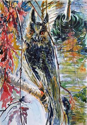 Painting - Eagle Owl by Kovacs Anna Brigitta