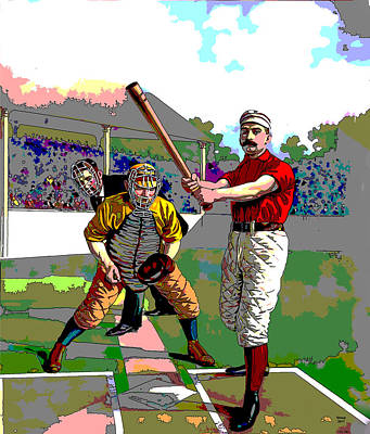 Mixed Media - Early Baseball by Charles Shoup