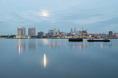 Vintage Baseball Players Rights Managed Images - early morning sunrise over city of philadelphia PA Royalty-Free Image by Alex Grichenko