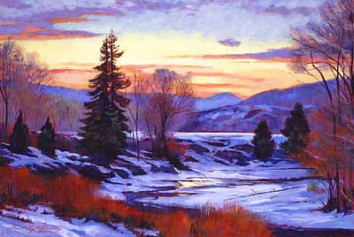 Vermont Landscape Painting - Early Spring Daybreak by David Lloyd Glover