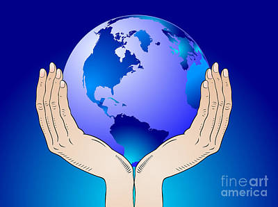 Responsibility Digital Art - Earth In The Your Hands by Michal Boubin