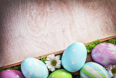 Copy Photograph - Easter Decoration - Eggs And Flowers On A Wood by Michal Bednarek