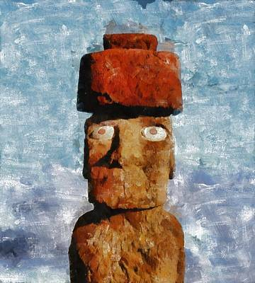 Liberty Painting - Easter Island by Mary Bassett