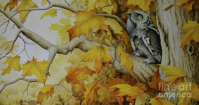 Painting - Eastern Screech Owl by Charles Owens
