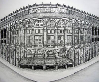 Stadiums Drawing - Ebbets Field by Juliana Dube