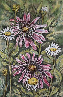 Echinachea And  Daisies Art Print