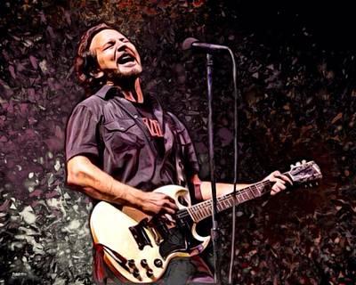 Concert Ukulele Digital Art - Eddie Vedder Of Pearl Jam by Scott Wallace
