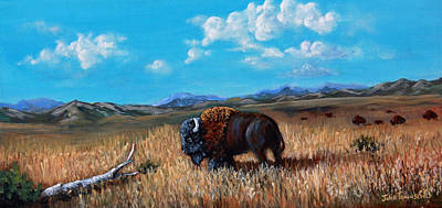 Buffalo Extinction Painting - Edge Of The Herd by Julie Townsend