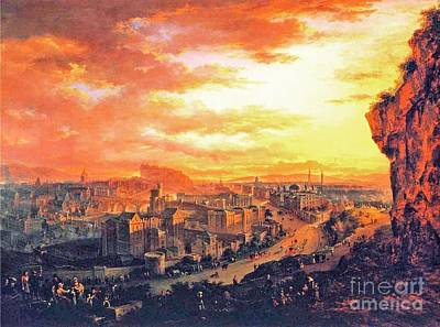 Scotland Painting - Edinburgh From Calton Hill by Celestial Images