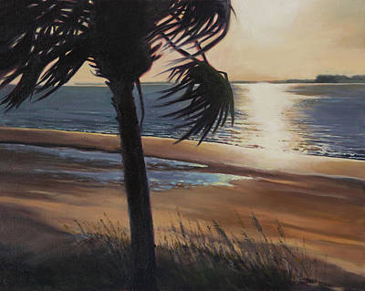 Palmetto Tree Painting - Edisto Sunset by Todd Baxter