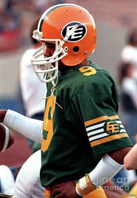 Photograph - Edmonton Eskimos Football - Damon Allen - 1985 by Terry Elniski