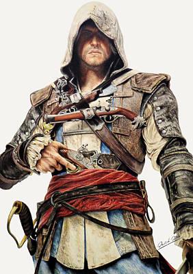 Drawing - Edward Kenway - Assassin's Creed Black Flag by David Dias