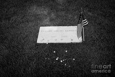 Ted Kennedy Photograph - edward moore ted teddy kennedy grave with coins arlington cemetery Washington DC USA by Joe Fox