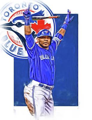 Mixed Media - Edwin Encarnacion Toronto Blue Jays Oil Art by Joe Hamilton