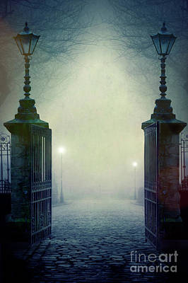 Photograph - Eerie Gateway At Night In Fog by Lee Avison
