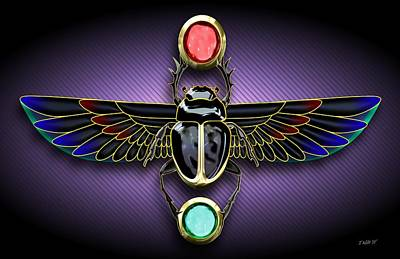 Digital Art - Egyptian Scarab Beetle by John Wills