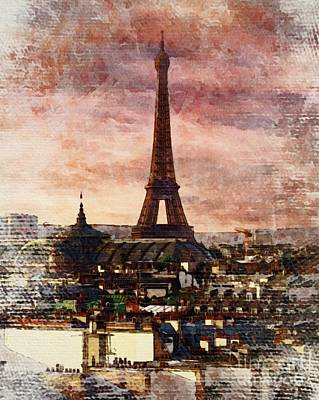 Paris Skyline Paintings - Eiffal Tower, Paris, France by Sarah Kirk