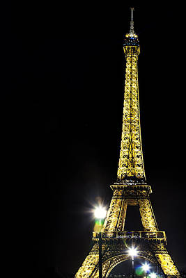 Vertical Photograph - Eiffel At Night by Andrew Soundarajan