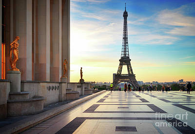 Paris Skyline Royalty-Free and Rights-Managed Images - Eiffel Tour from Trocadero, Paris by Anastasy Yarmolovich