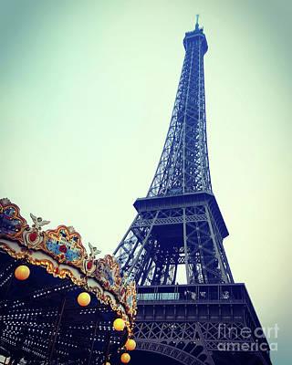Eiffel Tower And Carousel. France. Europe. Art Print by Bernard Jaubert