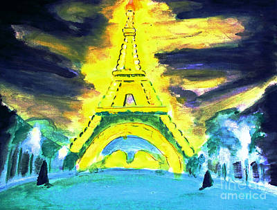 Eiffel Tower Night Optical Illusion Art Print