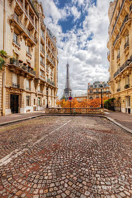 Photograph - Eiffel Tower Seen From The Street In Paris, France.  Cobblestone Pavement by Michal Bednarek