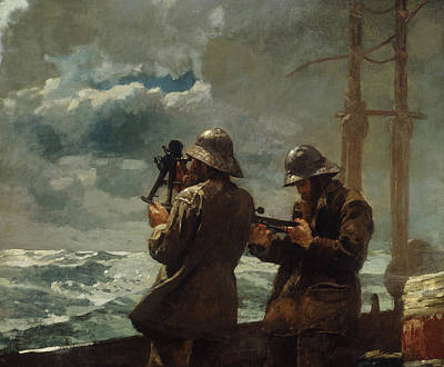 Raincoats Painting - Eight Bells by Winslow Homer