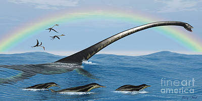 North Sea Painting - Elasmosaurus Marine Reptile by Corey Ford