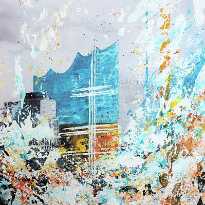Port Town Mixed Media - Elbphilharmony And Boat by Nica Art Studio