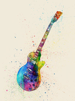 Instrument Digital Art - Electric Guitar Abstract Watercolor by Michael Tompsett