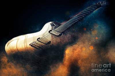 Red Rock Drawing - Electric Guitar Art by Ian Mitchell