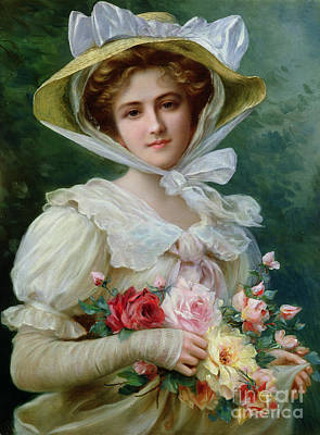 Elegant Lady With A Bouquet Of Roses Art Print by Emile Vernon