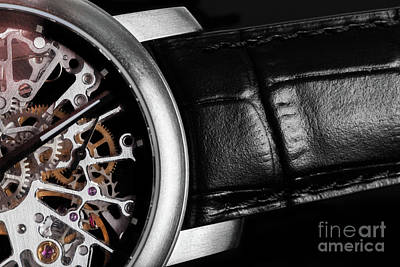 Hand Photograph - Elegant Watch With Visible Mechanism, Clockwork. Time, Fashion, Luxury Concept. by Michal Bednarek