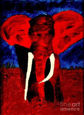 Painting - Elephant Bull Enraged 1 by Richard W Linford