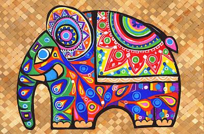 Tapestries Textiles Painting - Elephant by Samadhi Rajakarunanayake