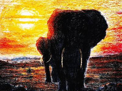 Painting - Elephant  Sunset by Hartmut Jager