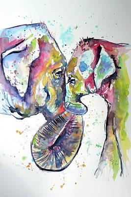 Painting - Elephant With Baby by Kovacs Anna Brigitta