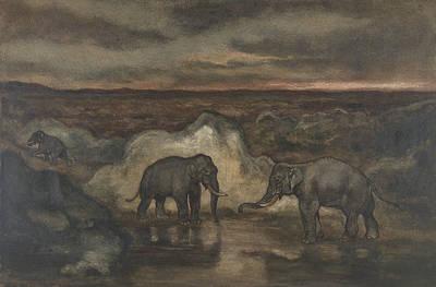 Drawing - Elephants By A Pool by Antoine-Louis Barye