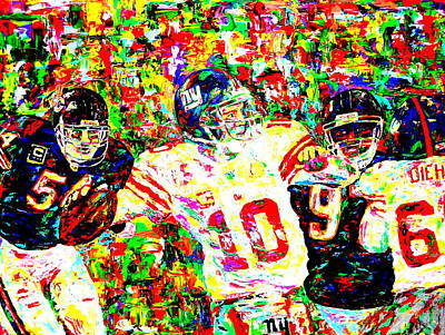 Chicago Bears Painting - Eli Manning by Mike OBrien