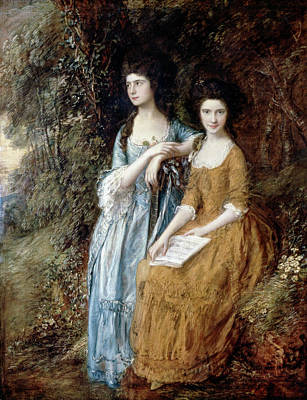 Siblings Painting - Elizabeth And Mary Linley by Thomas Gainsborough