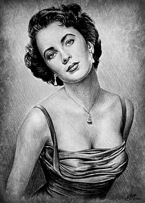 Brunette Drawing - Elizabeth Taylor by Andrew Read