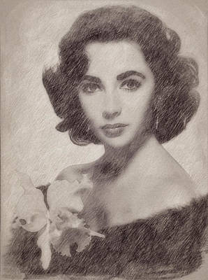 Celebrities Paintings - Elizabeth Taylor by Esoterica Art Agency