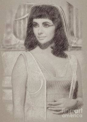 Star Trek Drawing - Elizabeth Taylor Hollywood Actress by Frank Falcon