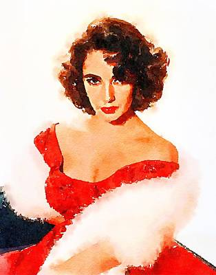 Television Painting - Elizabeth Taylor by John Springfield