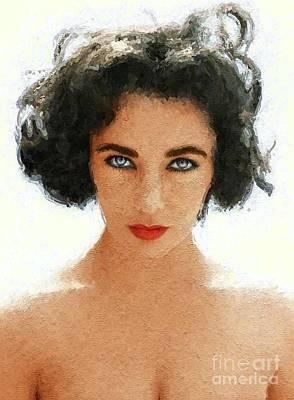 Actors Digital Art - Elizabeth Taylor, Vintage Actress by Mary Bassett