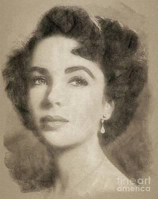 Music Legend Drawing - Elizabeth Taylor, Vintage Hollywood Legend By John Springfield by John Springfield