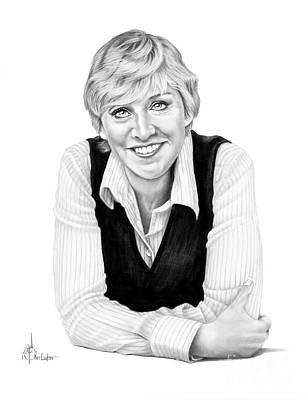 Famous People Drawing - Ellen Degeneres by Murphy Elliott