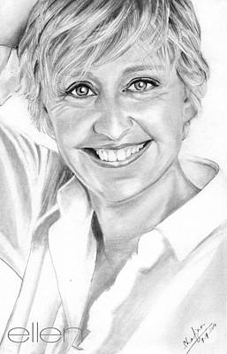 Portrait Drawing - Ellen Degeneres by Shafina Noor